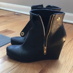 Leather black booties- barely worn!